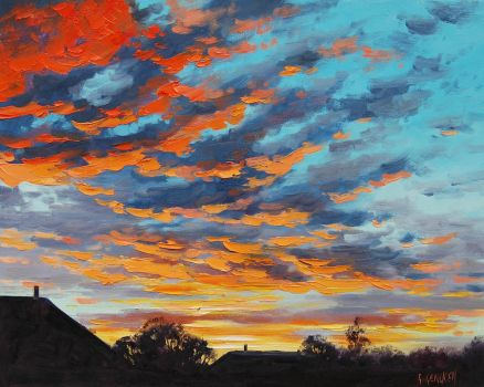 Rural sunset by artsaus