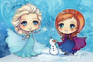 Frozen Elsa and Anna by StarMasayume