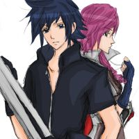 Lightning and Noctis by miehongchen