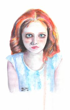 Staring Child watercolor by odamargrethe