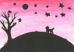 Hill+dog+stars+tree by Genielicious