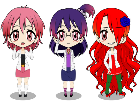 Chibis: Cherry, Lacto, Katja by TheAwesomeAssistant