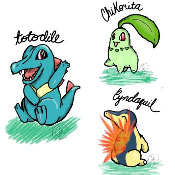 Phone Sketch #2: Johto Starters by Cassidillian