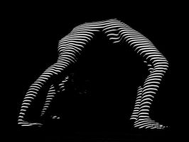 9454-DJA Nude Young Woman BW Zebra Stripe Abstract by artonline