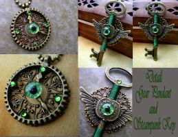 Steampunk Gear Clock and Key Pendants Green by LadyPirotessa