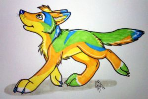 colorful yote by PlushiePaws