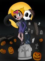 Grim Jr And Minnie In Halloween Town Color by jerrydestrtoyer