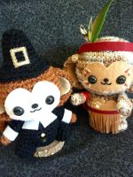 Thanksgiving Pilgrim Monkey Amigurumi by cuteamigurumi