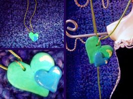 Twin Hearts Necklace by elleira5jewellery