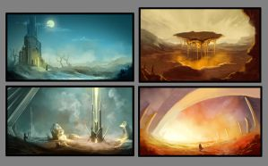 Environment Sketches by Ratique