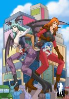 GTS Morrigan, Felicia and Lillith in the City by giantess-fan-comics