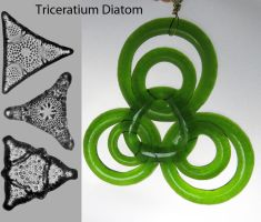 Diatom Suncatcher made from Champagne Bottle by trilobiteglassworks
