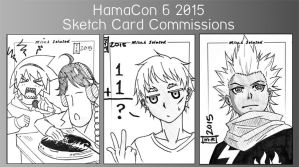 commission. hamacon 6 sketch cards by maioceaneyes