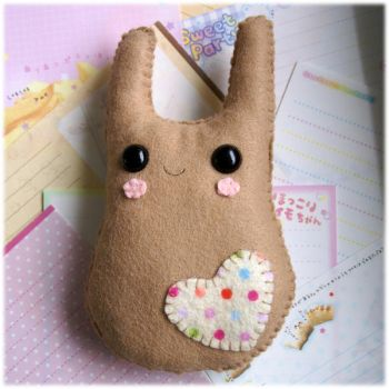 Brown Bunny Heart Plushie by Keito-San
