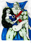 Martian Manhunter and She-Hulk Greenlove by MisterHydesSon