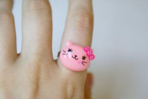Kawaii Pink Kitty Ring by MonsterBrandCrafts