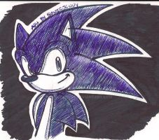 sonic in pen art by SONICJENNY