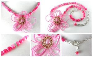 Bold Pink Flower Power Necklace by DryGulchJewelry