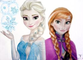 Elsa and Anna - Frozen by tanjadrawing