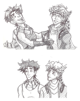 Jojo and Caesar doodles by pirateneko