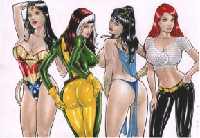 Rubismar:Wonder Woman/Rogue/Dejah Thoris/Jean Grey by comiconart