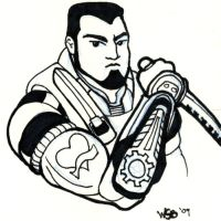 Gears of War's Dom Sketchcard by whipsmartbanky