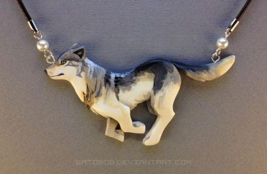 Running Wolf Necklace by Gatobob