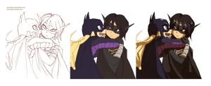 Process Batgirl And Black Bat by dan-heron
