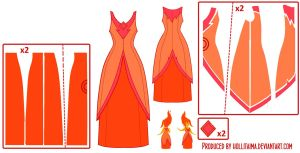 Flame Princess Pattern Draft by Hollitaima