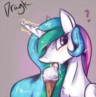 Celestia eating Ice cream by Dragk