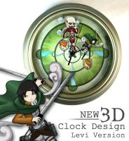Attack on Titan - 3D Wall Clock - Levi Ackermann by Esclair-Studios