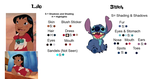 COLOR GUIDE - Lilo and Stitch by Retro7