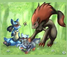 Lucario and Zoroark by Link-Zelda2