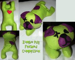 Zombie Pug Finished Commission by LilWolfStudios