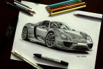 Porsche 918 Drawing by orhano