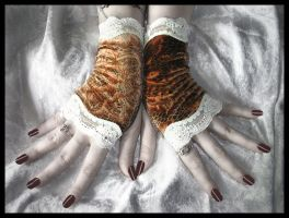 Honey Velvet Fingerless Gloves by ZenAndCoffee