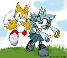 Nikki and Tails at Play by MaybeKaybe