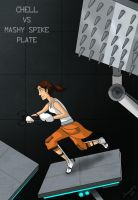 Portal: Chell vs Mashy Spike Plate by Comedic44