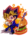 YUGI+burger/Art trade by zigemu
