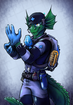 Space Lizard Medic [Commission] by bioniclefusion