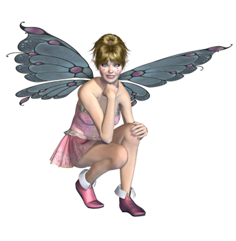 Pink Fairy 04 PNG Stock by Roy3D