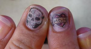 finger nail tattoo by hoviemon