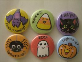 Halloween buttons by flameinheaven