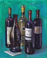Bottles of wine by dh6art