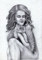 Hermione with her cat Crookshanks by Leona-Norten
