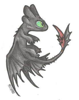 toothless ( colored pencils ) by Wolf-Spirit99
