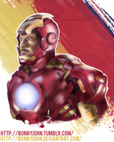 RDJ as Iron Man w/ Speed Painting by BonnyJohn