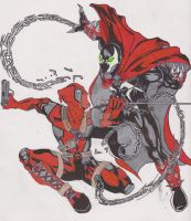 Deadpool Vs Spawn by Mistaj27