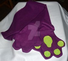 One of a Kind Purple Paw Scarf by LilWolfStudios
