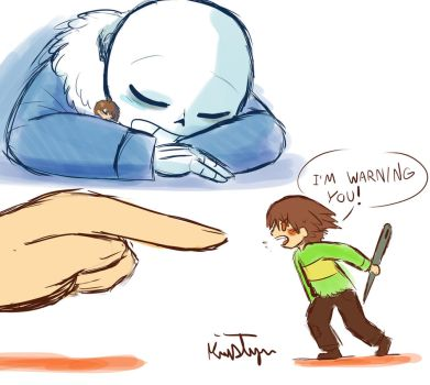 Sleepy Sans and Borrower Chara concept by Friendlyfoxpal